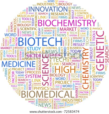 BIOTECH. Word collage on white background. Vector illustration. Illustration with different association terms. - stock vector