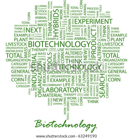 BIOTECHNOLOGY. Word collage on white background. Illustration with different association terms. - stock vector