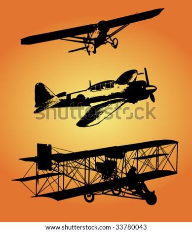 Biplane - stock vector
