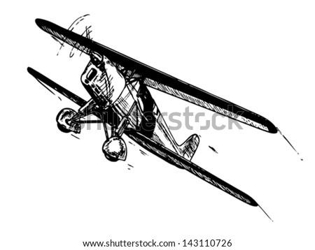 Biplane aircraft in flight. Vintage style vector illustration. - stock vector
