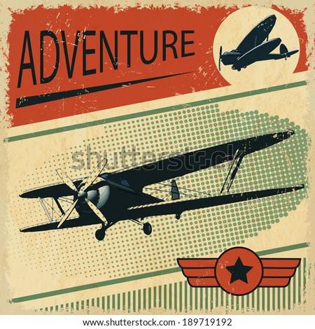 biplane  retro poster - stock vector