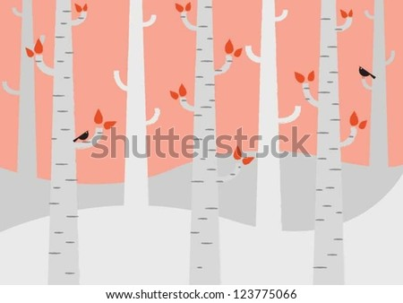 Birch Tree Forest in Autumn - stock vector