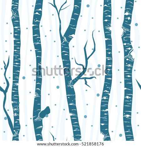 Birch trees seamless vector pattern. Flat minimalistic design.
