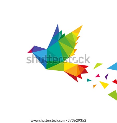Bird abstract triangle design concept element isolated on a white backgrounds, vector illustration - stock vector