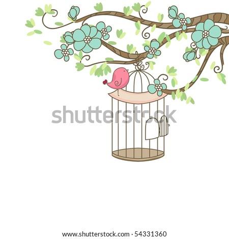 bird and birdcage - stock vector