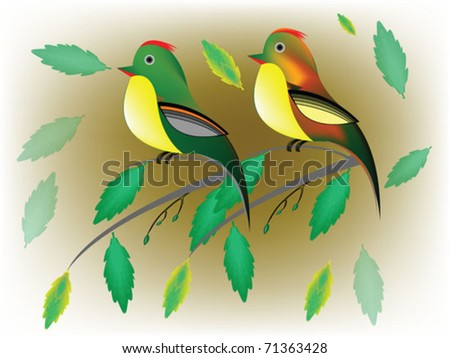 bird and branch - stock vector