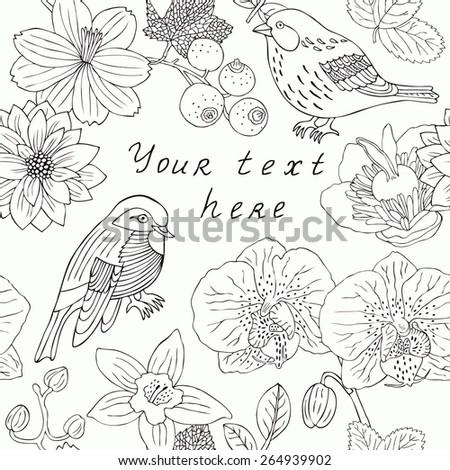Bird and flower spring card. Vector illustration. - stock vector