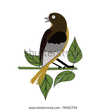 bird and leaf color - stock vector