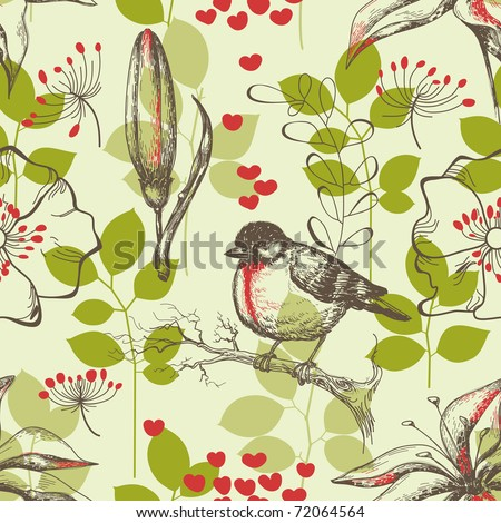 Bird and lilies seamless pattern - stock vector