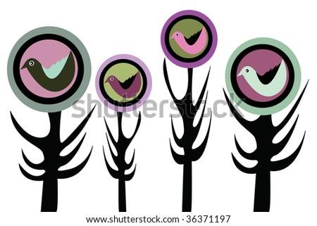 bird and tree - stock vector
