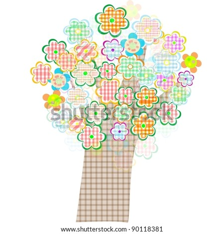 bird and tree with flowers and leaves. Vector illustration - stock vector