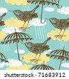 Bird and umbrella. seamless pattern - stock vector