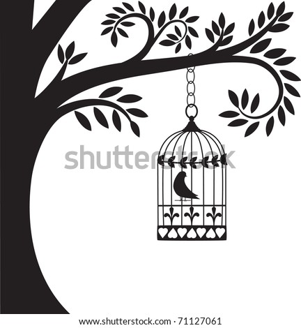 bird cage hanging from branch - stock vector