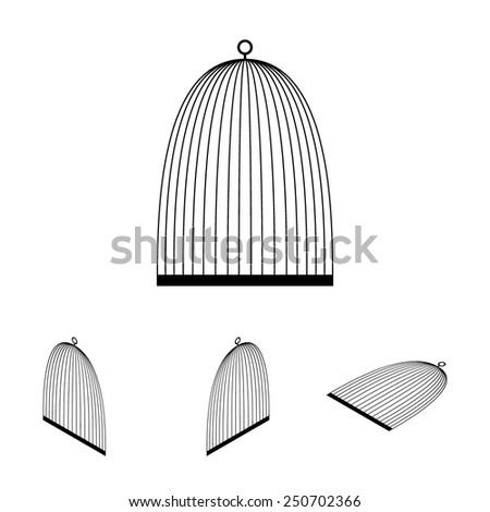 Bird cage  set. Isometric effect - stock vector