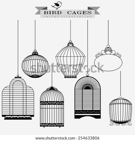 Bird cages set - vector illustration - stock vector