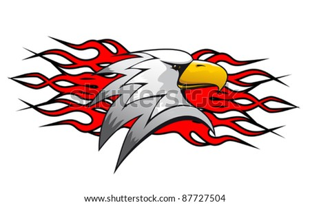Bird cartoon mascot with red flames for tattoo design, such a logo. Rasterized version also available in gallery