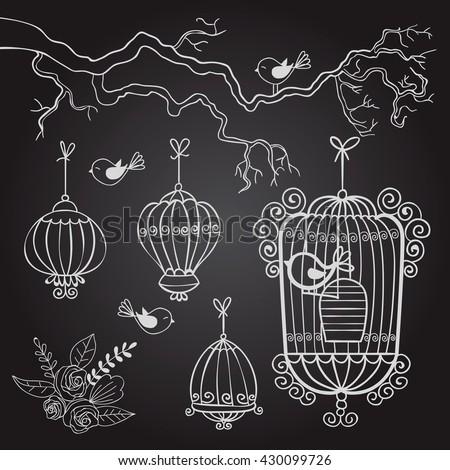bird. cell. drawing. birdcage. sketch. vector illustration - stock vector