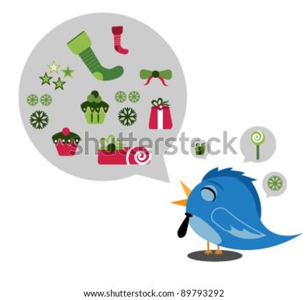 bird Christmas talk - stock vector