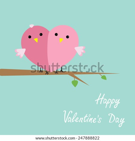 Bird couple heart Flat design Happy Valentines day Vector illustration - stock vector