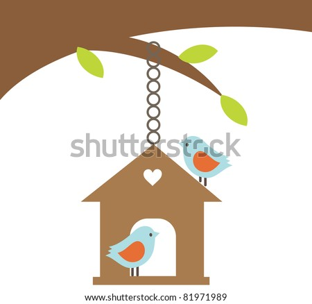 Bird couple with the house hanging on the tree - stock vector
