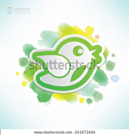 Bird design,water colour design,clean vector - stock vector
