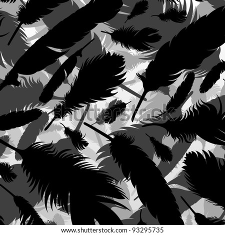Bird feathers silhouettes background illustration vector - stock vector