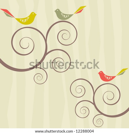 Bird flock on swirly trees on retro inspired striped background