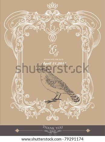 bird frame vintage book cover design - stock vector