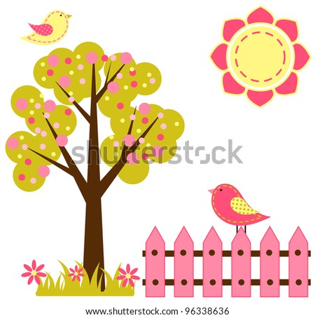 Bird Garden - stock vector
