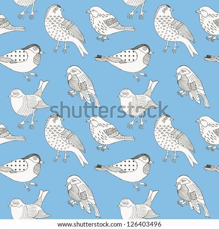 bird hand drawn seamless background - stock vector
