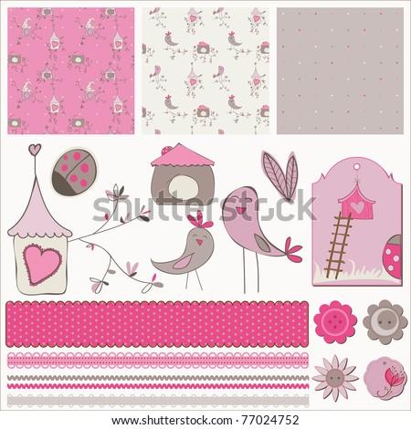 Bird House Design Elements - stock vector