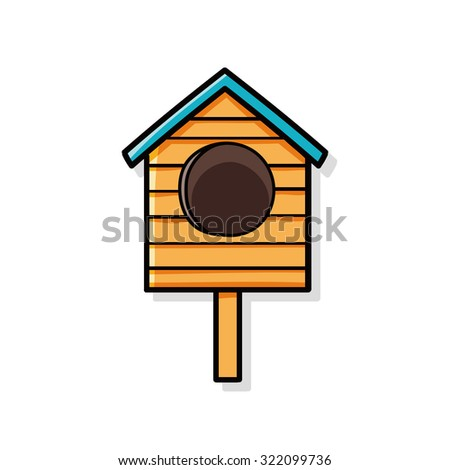 bird house doodle - stock vector