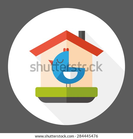 bird house flat icon with long shadow