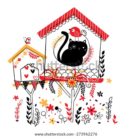 bird house illustration