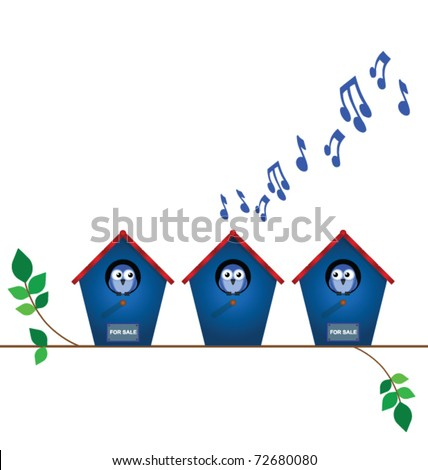 Bird house playing load music with neighbours for sale signs with copy space - stock vector