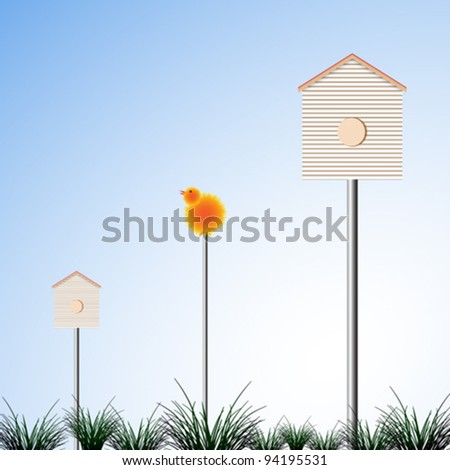 bird houses and grass, abstract vector art illustration; image contains transparency - stock vector