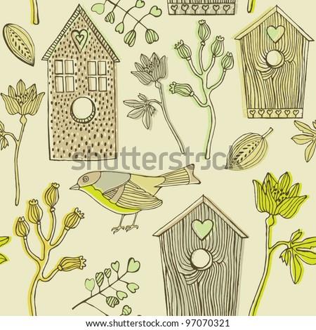 bird houses seamless background - stock vector