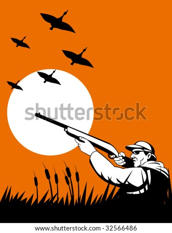 Bird hunter aiming with shotgun with ducks flying in the background