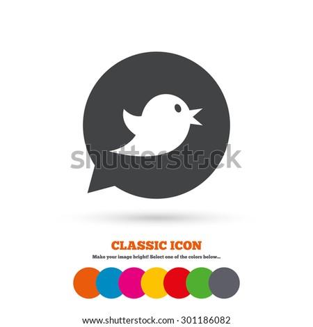 Bird icon. Short messages speech bubble symbol. Classic flat icon. Colored circles. Vector - stock vector