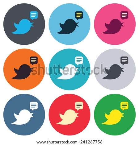 Bird icon. Social media sign. Short messages twitter retweet symbol. Speech bubble. Colored round buttons. Flat design circle icons set. Vector - stock vector