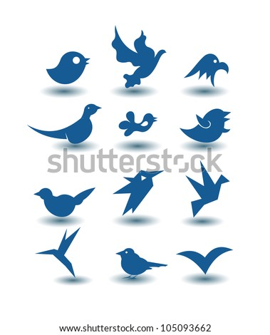 bird icons - stock vector