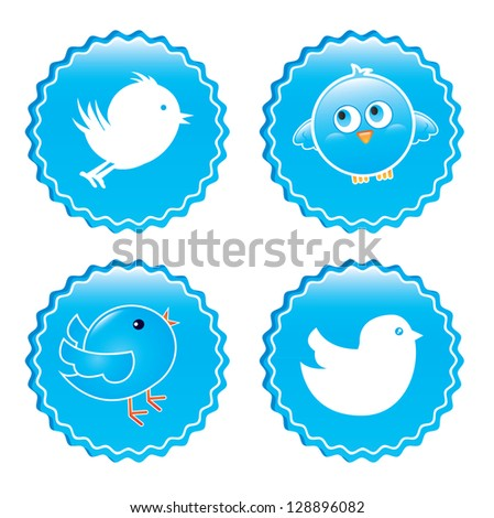 bird icons over white background vector illustration - stock vector