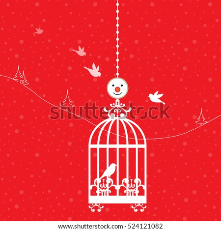 Bird in a cage against a background of red and snow Vector.