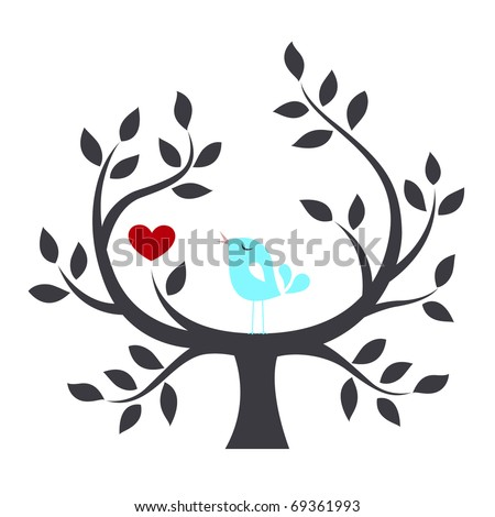 Bird in a tree with love - stock vector