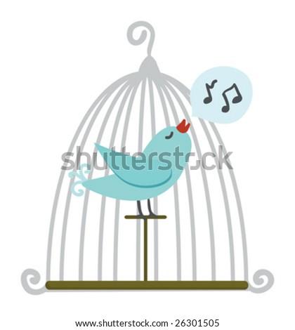 Bird in cage. Vector illustration. - stock vector
