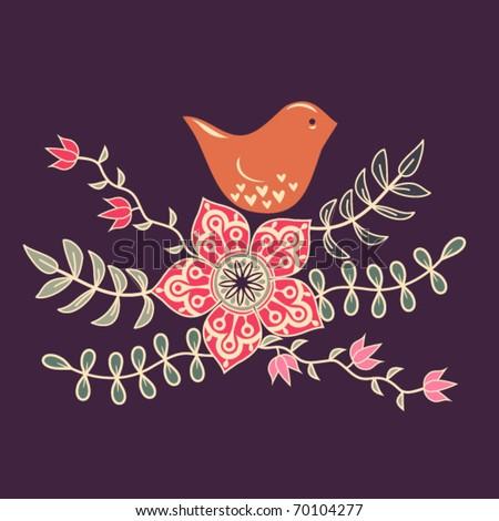 bird in flowers - stock vector