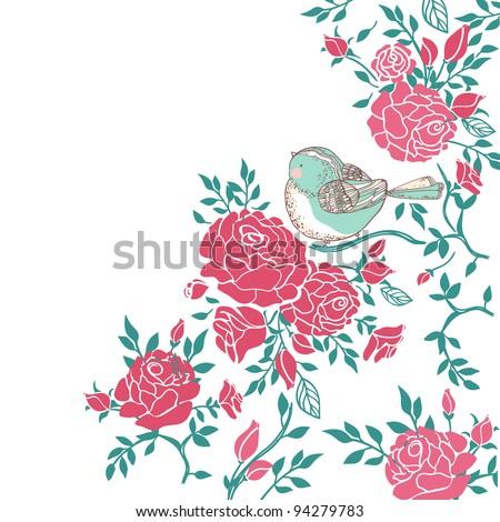 bird in roses - stock vector