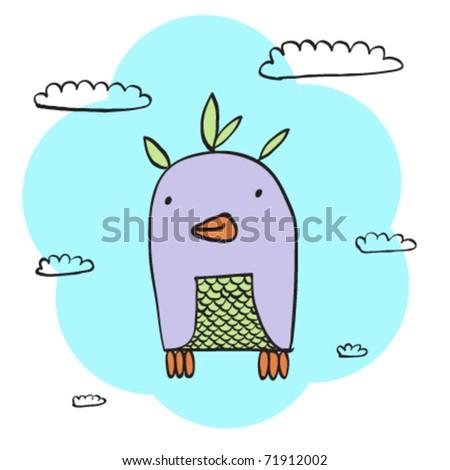 bird in the clowds - stock vector