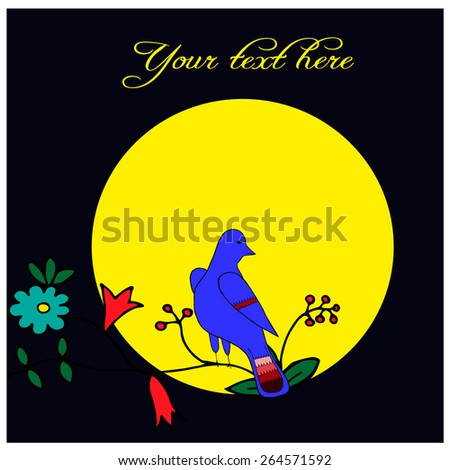 Bird In Tree, Moon On Background - stock vector