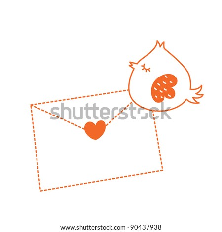 bird letter message - stock vector